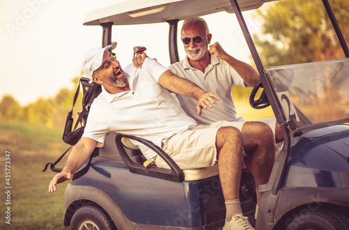 Two older friends are riding in a golf cart. Fototapeta