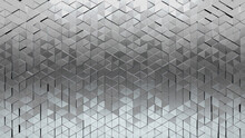 Triangular, Polished Mosaic Tiles Arranged In The Shape Of A Wall. Glossy, Silver, Bullion Stacked To Create A 3D Block Background. 3D Render