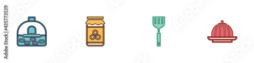 Obraz na plátně Set Brick stove, Jar of honey, Spatula and Pudding custard icon