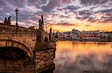 Nature, Sky, Landscape, Old, Green, Cityscape, Outdoor, Prague, Charles Bridge, History, Architecture, Prague Castle, Summer, Sunset, Bridge, River, City.