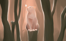 Digital Painting Sitting Cat In The Forest Watercolor Style