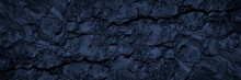 Black Blue Stone Background. Toned Rock Texture. Wide Banner. Dark Grunge Background With Copy Space For Design. Cracked Granite Surface. Close-up.