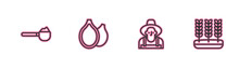 Set Line Measuring Cup With Flour, Farmer The Hat, Pumpkin Seeds And Wheat Icon. Vector