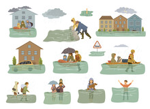 Flood Infographic Elements. Flooded Houses, City, Car, People Escape From Floodwaters Leaving Houses, Homes, Rescue Families Animals, Building Sandbag Barrier For Protection