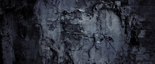 Scary Dark Walls, Slightly Light Black Concrete Cement Texture For Background