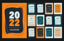 Calendar 2022 Template, Orange, Green, Peach, White And Black Desk Calendar Design. Week Start On Monday, Planner, Stationery, Wall Calendar. Vector Illustration