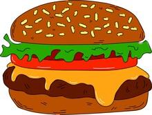 Vector Hand-drawn Burger Illustration.
