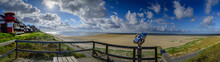 Panorama View Of Vantage Point And Promenade Along The Water's Edge Around The Southernmost Tip Of The Island Amrum In Wittdün, North Frisia, Schleswig-Holstein, Germany.