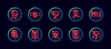10 In 1 Vector Icons Set Related To Winner Award Theme. Lineart Vector Icons In Geometric Neon Glow Style With Particles