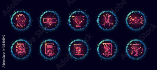 Fotografie, Obraz 10 in 1 vector icons set related to winner award theme