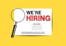 We Are Hiring Concept Design With Magnifying Glass Yellow Background