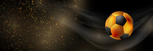 Luxury Sport Background With Golden Particles And Soccer Ball. Vector Banner