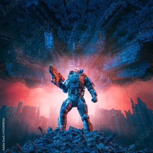 Obraz na plátně Cyberpunk soldier city warfare / 3D illustration of science fiction military rob