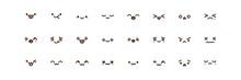 Vector Kawaii Anime Emoji Isolated Icons Set.