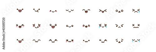 Photo Vector kawaii anime emoji isolated icons set.