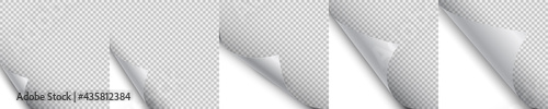Photographie Set blank page with curled corner and shadow, page curl with shadow on blank she