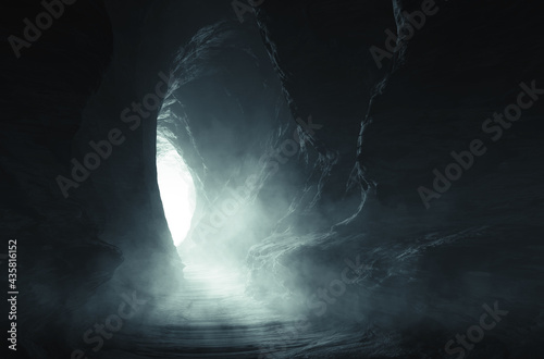 Fotografija dark cave entrance, underground landscape