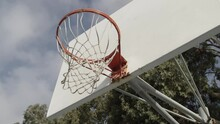 Slow Motion Movement Under Neath A Basketball Hoop Looking Up At The Hoop