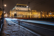 The National Theatre In Prague (Národní Divadlo) Shot From The Legion Bridge (Most Legií) At Night