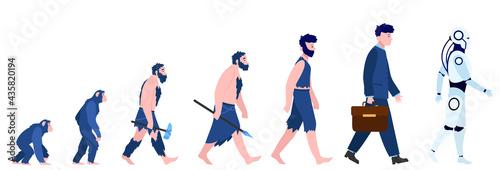 Cartoon human evolution isolated flat vector illustration Fototapeta