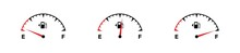 Fuel Meter Set Icon. Full Fuel Gauge. Gas Tank. Vector Isolated Flat