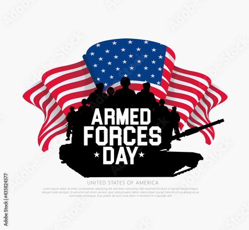 Wallpaper Mural Armed forces day template, with soldier silhouette background design