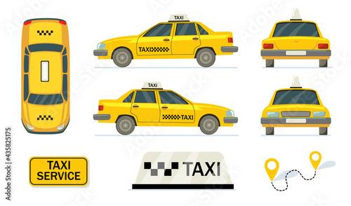 Fotografiet Yellow cabs set