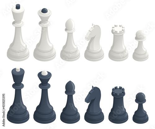 Fotografie, Tablou Isometric set of standard chess pieces