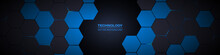 Dark Gray And Blue Hexagonal Technology Abstract Horizontal Vector Background. Blue Bright Energy Flashes Under Hexagon In Modern Futuristic Wide Technology Banner. Dark Honeycomb Texture Grid.