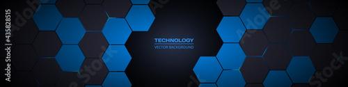 Fotografiet Dark gray and blue hexagonal technology abstract horizontal vector background
