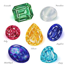 Collection Of Hand Painted Watercolor Gems