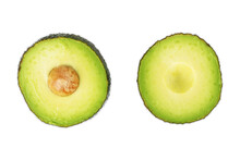 Avocado Split In Half, Isolated On A White Background