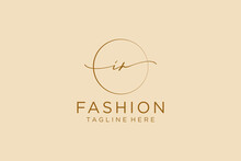 Initial IR Feminine Logo Beauty Monogram And Elegant Logo Design, Handwriting Logo Of Initial Signature, Wedding, Fashion, Floral And Botanical With Creative Template.