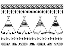 Tribal Traditional Teepee Tent And Symbol Borders Design Collections