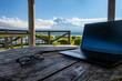 Leinwandbild Motiv 富士山の見える湖畔でのテレワーク(ワーケーション) イメージ remote working at the foot of mount Fuji