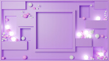 Abstract Purple 3D Illustration With Multiple Spheres.