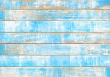 ビンテージ感のある、青いウッドデッキ