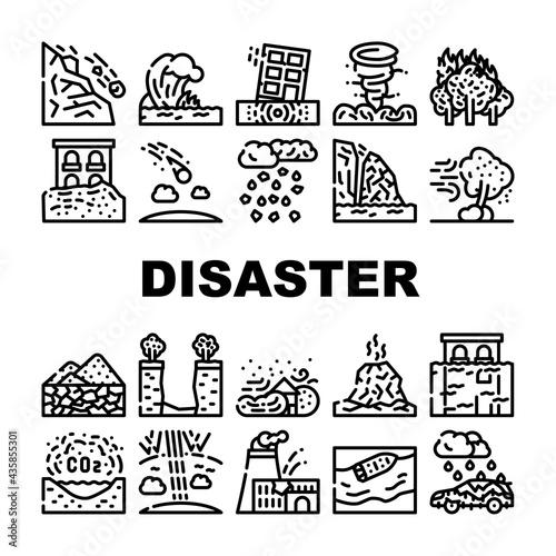 Canvas Print Disaster Destruction Collection Icons Set Vector