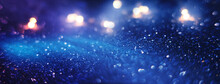 Blurred Dark Abstract Background With Glittering Lights, Bokeh. Ultraviolet Glittering Lights, Sparks.
