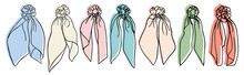 Collection Of Hand Drawn Doodle Scrunchies With Backgrounds. Vector Hair Tie Design Element.