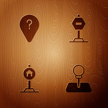 Set Push Pin, Unknown Route Point, Hotel Sign For Traffic And Stop On Wooden Background. Vector