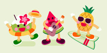 Coconut With Swim Ring, Watermelon Play Ukulele And Pineapple On Surfboard, Fruits Character