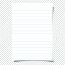 Vector A4 Format Paper Blank With Shadow On Transparent Background