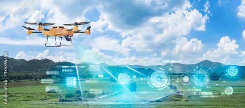 Fotografie, Obraz 5G technology trend and smart farm agriculture concept