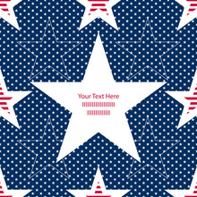 Abstract Seamless Vector Pattern With White And Striped Stars And A Star Bubble For Text. Independence Day Background. Great For Postcards, Posters And Wrapping Paper.