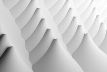 Abstract Architectural Background. Slender Rows Of Curved Convex And Concave Shapes. 3d Rendering