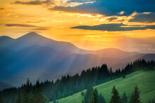 Beautiful Sunset In The Mountains