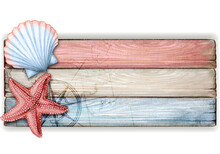 Watercolor Wooden Nautical Vintage Banner