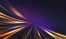Light Speed Motion Trail, Blur Streak Effect Vector Illustration. Long Exposure Fast Car Transport Lights On Road City Tunnel Dark Background, Blurred Shine Lamp Tails, Abstract Highway Transportation