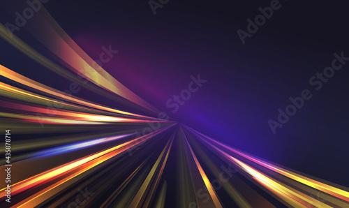 Fotografie, Obraz Light speed motion trail, blur streak effect vector illustration